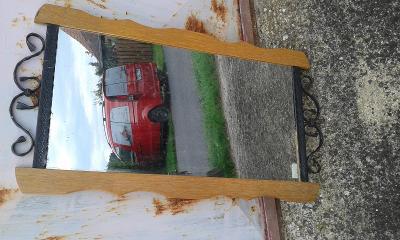 zrcadlo zabroušené v ozdobném  rámu 34x66 cm- VIZ FOTO
