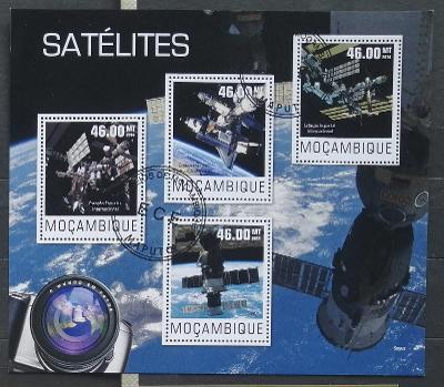 Mozambik 2014 - CTO aršík, satelity, vesmír a kosmos