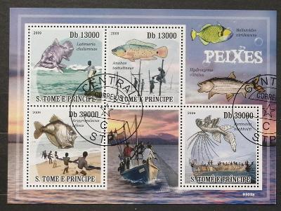 S. Tomé e Príncipe 2009 - CTO aršík, ryby a rybaření