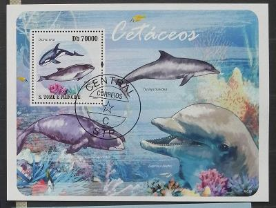 S. Tomé e Príncipe 2009 - CTO aršík, vodní savci, delfíny, ryby