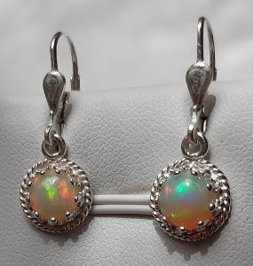 Nové stříbrné náušnice přírodní etiopský opál  Ag 925/1000