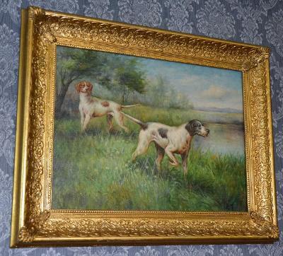 Zámecký obraz-Psi-olej na desce