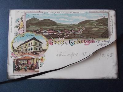 Sudety Karlovy Vary Krušné Hory Boží Dar Gottesgab lito koláž DA 1898