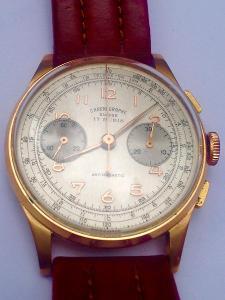 Zlaté hodinky Suisse Chronographe Antimagnetic 17 rubis, 18 karátů