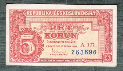 5 kčs 1949 serie A107 NEPERFOROVANA stav 0