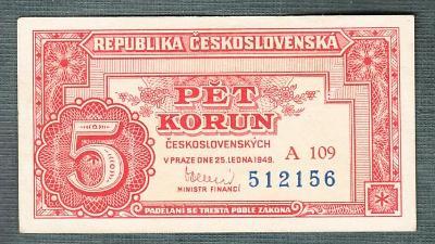 5 kčs 1949 serie A109 NEPERFOROVANA stav 0