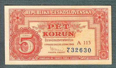 5 kčs 1949 serie A113 NEPERFOROVANA stav 0