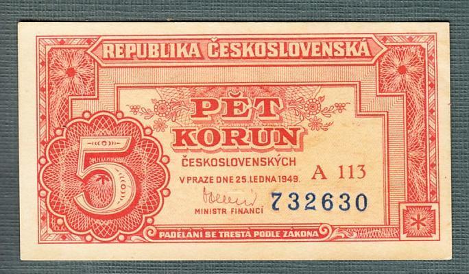 5 kčs 1949 serie A113 NEPERFOROVANA stav 0 - Bankovky