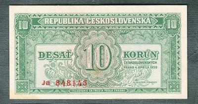 10 kčs 1950 serie Ja NEPERFOROVANA stav 0