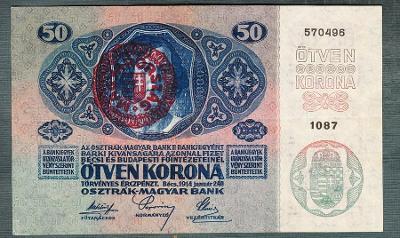 50 korun 1914 razítko MAGYARORSZAG MAĎARSKO pěkná