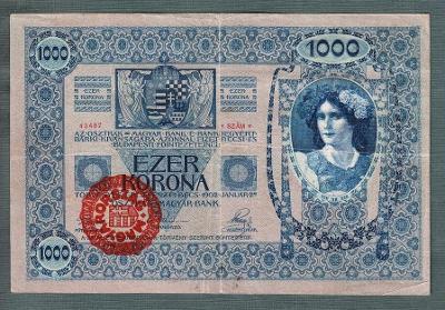 1000 korun 1902 razítko MAGYARORSZAG MAĎARSKO