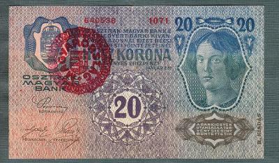 20 korun 1913 DRUHÉ VYDÁNÍ razítko MAGYARORSZAG MAĎARSKO !!