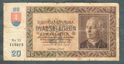 Slovensko 20 ks 1939 serie Ba52 NEPERFOROVANA