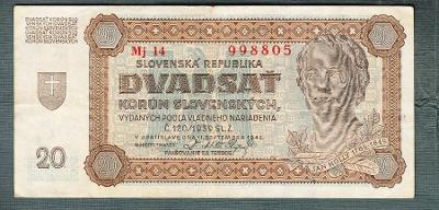 Slovensko 20 ks 1942 serie Mj14 NEPEROROVANA