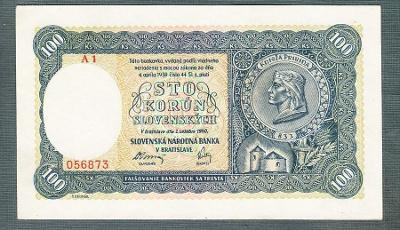 Slovensko 100 ks 1940 serie A1 !!! NEPEROFOVANA stav 0