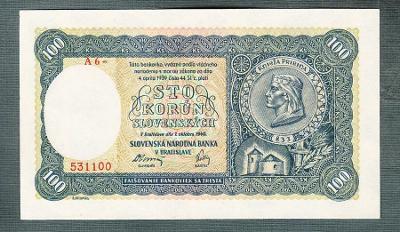 Slovensko 100 ks 1940 serie A6 NEPERFOROVANA stav UNC