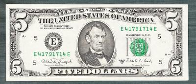 USA Amerika 5 dollar 1988 stav 1