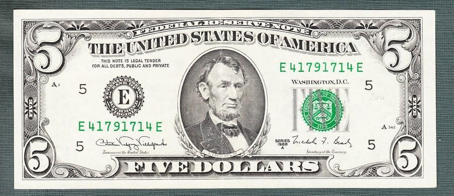 USA Amerika 5 dollar 1988 stav 1 - Bankovky