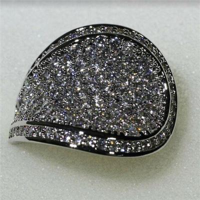 Prsten postříbřený s kamenem white sapphire vel.59