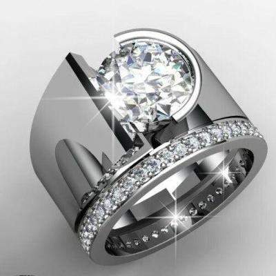 Prsten postříbřený 2 v 1 s kamenem white sapphire vel.62