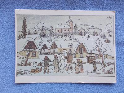 Umělecká pohlednice Josef Lada malíř Zima Vánoce sněhulák Odeon