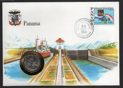 PANAMA mincovní dopis: 1/4 balboa 1983 UNC na R známka OSN s vlajkou