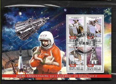 Pobřeží slonoviny 2017- kosmos - Lajka, Sputnik 1+2, Gagarin s Lajkou