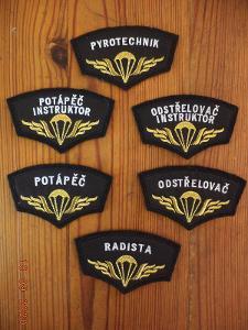 Sada-6 nášivek-odborností VÚ 8280 Prostějov-6.speciální brigáda AČR