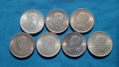 01. Švédsko - sada 7 montetů po 2 korunách 1942-1950