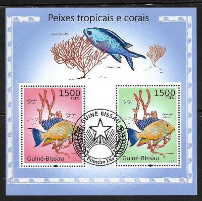 Guinea Bissau - ryby - perleťovka, sapín černomodrý, koráli rohovitky