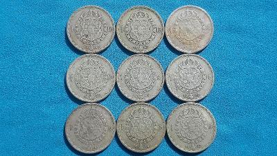 32. Švédsko - sbírka 9 mincí 1 koruna z let 1942-1950