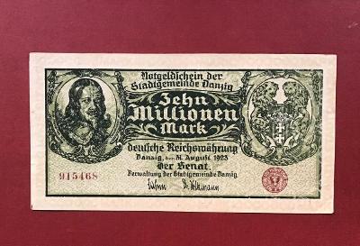 10 milionů marek, obec Danzig 31.08.1923 Nejlepší stav