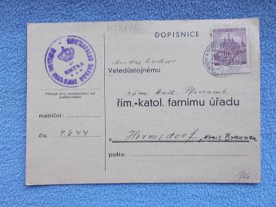 Lístek Oznámení o svatbě Razítko Farní úřad Ostrava Protektorát