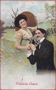 Velikonoce * žena, muž, dvojice, vajíčko, koláž, gratulační * M6272