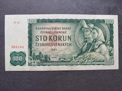 100 korun 1961 vzacna serie D  ve stavu 0 !!
