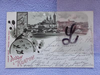 Šumava Klatovy noční litografie koláž DA 1899