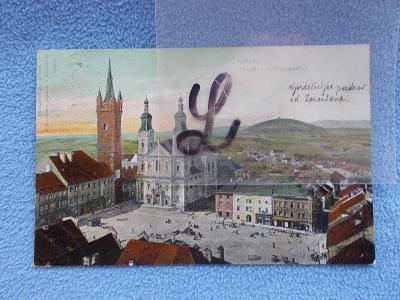 Šumava Klatovy panorama náměstí rastrovaný papír