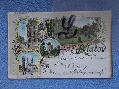 Šumava Klatovy Bašta Černá věž kostel  litografie koláž DA 1899