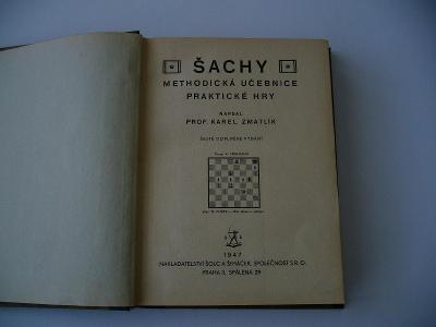 ŠACHY - Stará kniha z r.1947, krásný stav