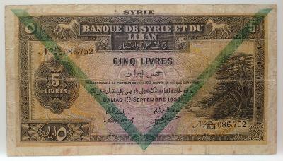 Bankovka Sýrie 5 punds 1939 R