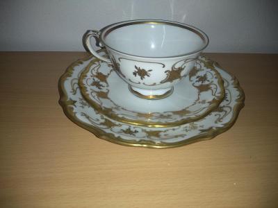 Starožitný kávový miniset, značkový porcelán.