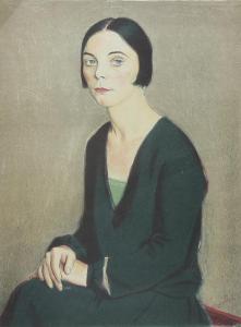 Portrét ženy - Barevná litografie značená razítkem František KUPKA