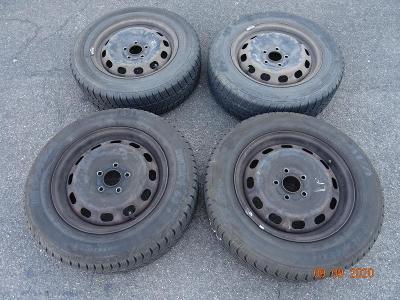 Čtyři zimní pneu, kola s disky na Ford - 195/65 R15  91T