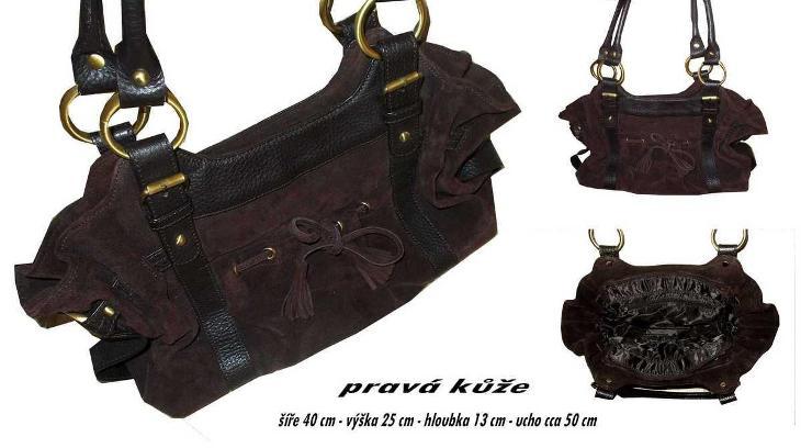 VÝRAZNÁ  PĚKNÁ HNĚDÁ KABELA - PRAVÁ KŮŽE  - Dámské kabelky