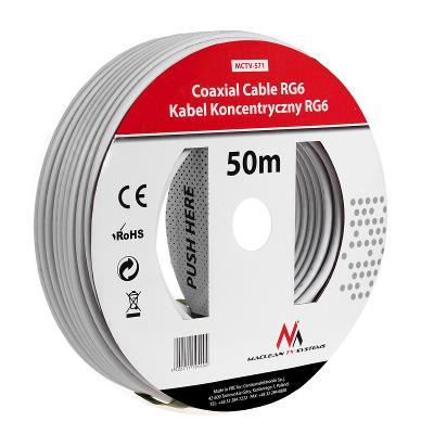 Koaxiální kabel RG6U 50M 1.0CCS