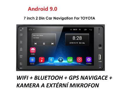 2DIN AUTORÁDIO DO TOYOTA S KAMEROU, ANDROID 9.0, WIFI GPS USB