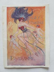 Starý program kabaret Folies Bergere 1928 Vald'Es Art Deco Paříž