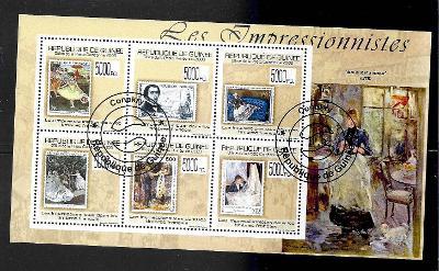 GUINEA - známka na známce -umění- Degas, Manet, Monet, Renoir, Morisot