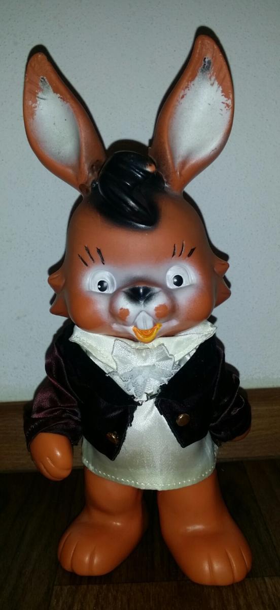raritka - krásná značená pískací gumová hračka *králík *22cm - Starožitnosti