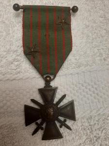 Croix de Guerre1914-1916 citace  2x HVĚZDA, Francie, legie, závěs